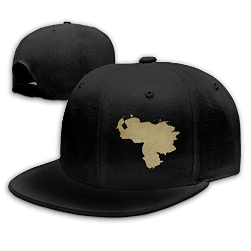 Adult Baseball Gorra, Venezuela Map Gold Hip Hop Hats Adjustable Snapback Gorra Solid Hats for Men