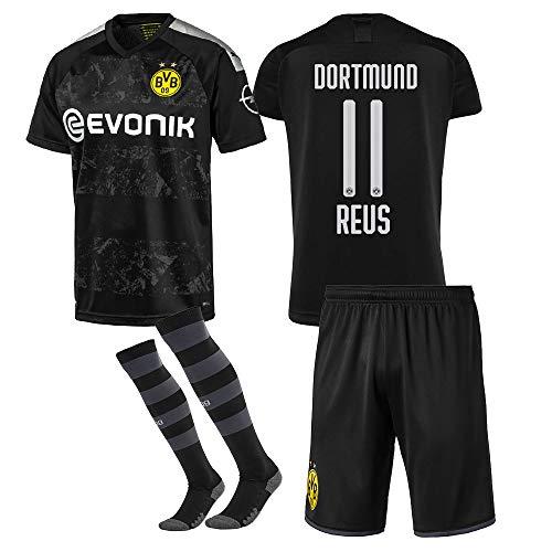 255GTaw 2019-2020 Neue Saison(Zuhause und Weg) Borussia Dortmund Fussball Trikot & Shorts & Socken # 11 Marco Reus Fußball Trikot für Kinder Jugendliche Erwachsene