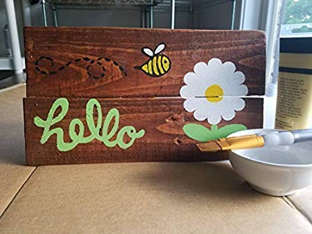 "by Unbranded Placa de madera para habitación familiar de 15 x 30 cm, diseño de abejorro con texto en inglés ""Hello Sign Daisy Flower Bee Sign with Dayings Home Decor 812830"""