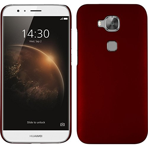 PhoneNatic Case kompatibel mit Huawei G8 - Hülle rot gummiert Hard-case + 2 Schutzfolien