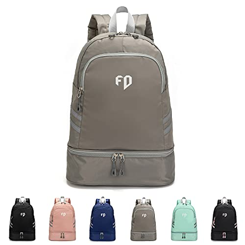 FEDUAN Sport-Rucksack Sporttasche mit Schuhfach und Nassfach Damen Herren Teenager Backpack für Fitness Gym Outdoor Camping Schule Schwimmbad Fahrrad-Rucksack Mädchen Junge Kinder silber-grau