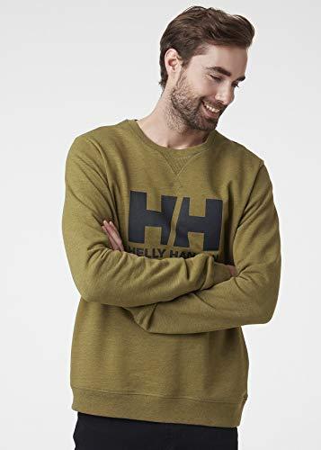 Helly Hansen Men's Standard HH Logo Crewneck Sweatshirt, 458 Uniform Green Melange, Large