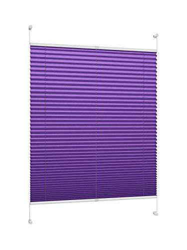 DecoProfi PLISSEE violett, verspannt, Breite 60cm x 130cm (Gesamthöhe Fensterflügel), mit Klemmträger/Klemmfix/ohne Bohren