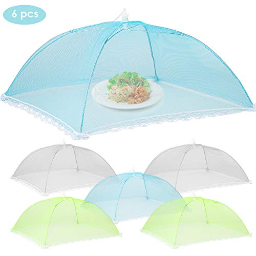 Petyoung 6 Pack Mesh Food Covers 17 x 17 inch, Collapsible Food Tent Umbrella for Outdoors, Screen Tents, Parties Picnics, BBQs