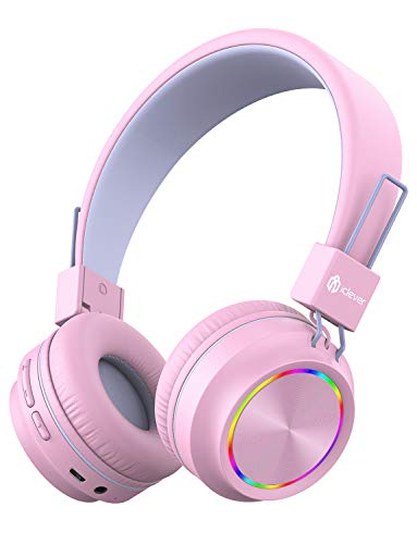 iClever BTH03 Kids Wireless Headphones, Colorful LED Lights Kids Headphones with MIC, 25H Playtime, Stereo Sound, Bluetooth 5.0, Foldable, Childrens Headphones on Ear for Study Tablet Airplane, Pink