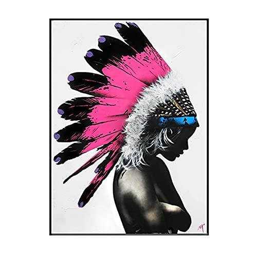 Belleza mujer blanco y negro pintura al óleo sobre lienzo carteles e impresiones imágenes artísticas de pared para sala de estar decoración del hogar-20x28 pulgadas sin marco