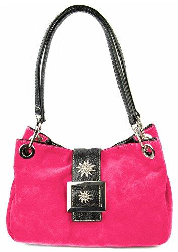 Wildleder Trachten Handtasche mit Edelweiß Pink - Sehr schöne Tasche zu Dirndl und Lederhose
