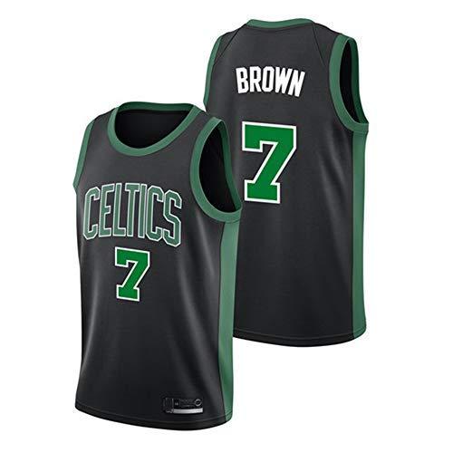 LAMBO Maglia da Basket NBA da Uomo Boston Celtics # 7 Jaylen Marrone Maglia Ricamata Senza Maniche Sport Fitness T-Shirt Felpe Maglie (M,Black)