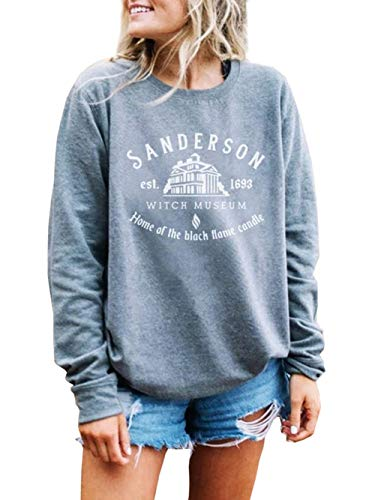 in budget affordable Women Sanderson Witch Museum Sweatshirt for Women Funny Halloween Witch T-shirt Happy …