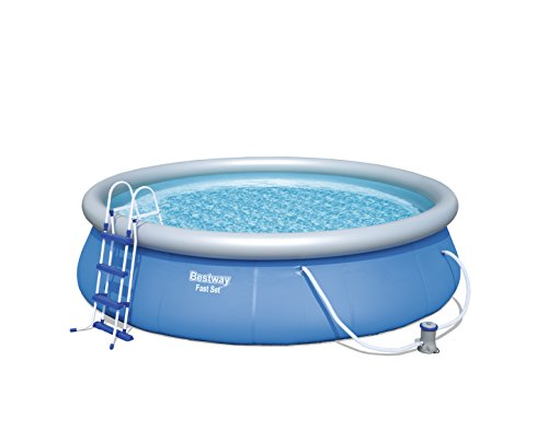 Fast Set Pool Komplettset rund, mit Kartuschenfilterpumpe, Leiter, Boden- & Abdeckplane, 457x107 cm, blau