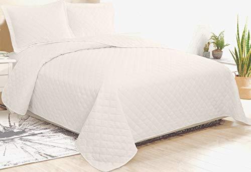 CosiCasa Tagesdecke für französisches Bett, 100 Gramm, 220 x 240 cm, Beige, leichte Steppdecke für Doppelbett