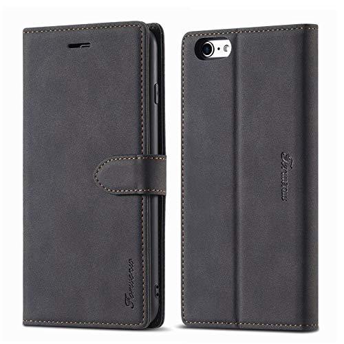 LOLFZ Hülle für iPhone 6 Plus, für iPhone 6S Plus Handyhülle, Premium Leder Handyhülle mit Kartenfach Ständer Magnetische Schutzhülle Kompatibel mit iPhone 6 Plus/6S Plus - Schwarz