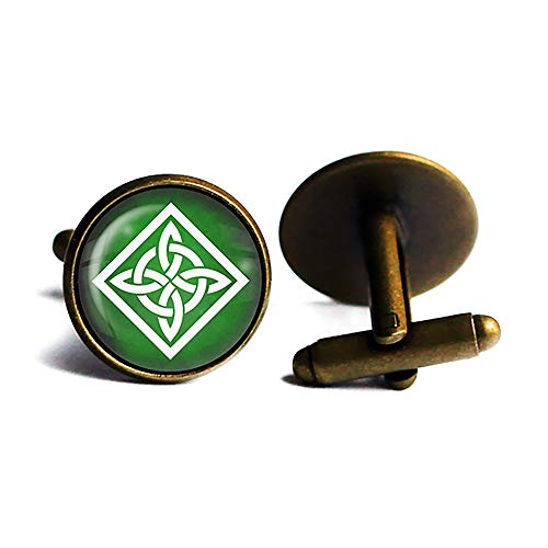 Celtic Knot Square White on Green Antique Bronze Cufflinks