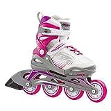 Bladerunner by Rollerblade Phoenix Girls Adjustable Fitness Inline Skate, White and Fuchsia, Junior, Value Performance Inline Skates, 5-8 (0T1011006R2)