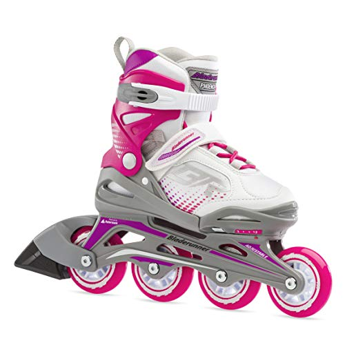 Bladerunner by Rollerblade Phoenix Girls Adjustable Fitness Inline Skate, White and Fuchsia, Junior, Value Performance Inline Skates, 5-8 (0T1011006R2)