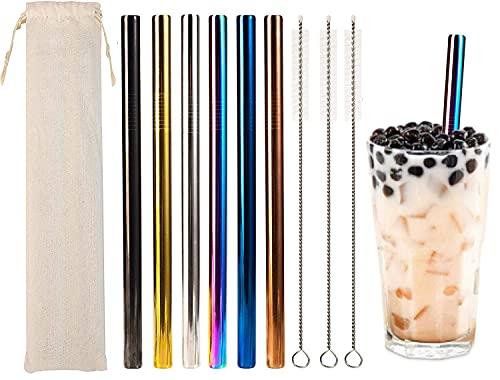 6 Pezzi Set Cannucce Acciaio Inox,Cannucce in Acciaio Inox Riutilizzabili,con 3 Spazzole per la Pulizia e 1 Bustina di Cotone,per Bubble Tea, Smoothie, Milkshake, Cocktail, Succhi di Frutta, Caffè