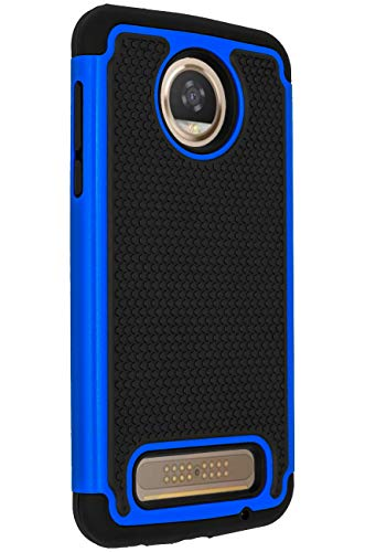 ANLI Moto Z2 Play Case, [Shock Absorption] Drop Protection Hybrid Dual Layer Armor Protective Case Cover for Motorola Moto Z Play Droid (2nd Generation) 2017 Released Blue
