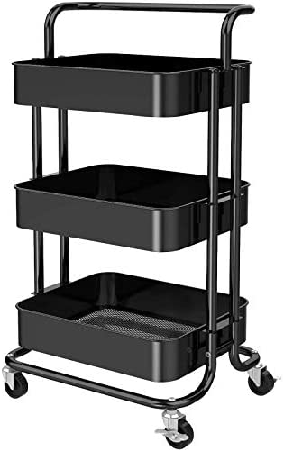 3 Tier Mesh Utility Cart Rolling Metal Organization Cart with Handle and Lockable Wheels Multifunctional product image