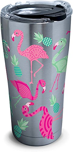 Tervis Flamingo Pattern Stainless Steel Tumbler with Clear and Black Hammer Lid 20oz, Silver