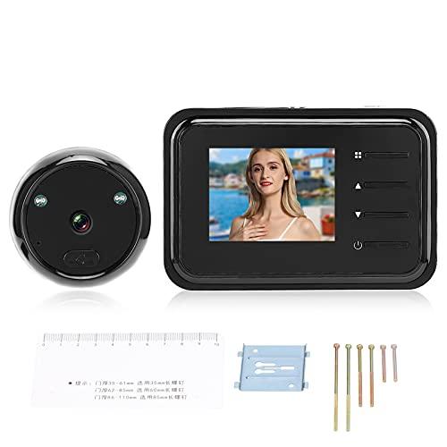 Jopwkuin Visor de Mirilla de Puerta Digital de 2,4 Pulgadas, 0.3MP, Lente Gran Angular de 90 °, Ring Video Doorbell con 2 Luces LED infrarrojas y función de visión Nocturna para el hogar