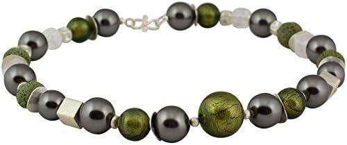 Collar de cristal de Murano Cimberley, declaración de plata, piedras preciosas, hecho a mano