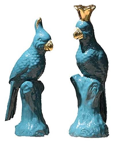 GAOYINMEI Rzeźba biurkowa statuetka dwie papuga statuetka rzeźby akcesoria domowe rękodzieło ceramiczne zwierzęta dekoracje biurko sztuka figurki prezenty balkon okna dekoracje