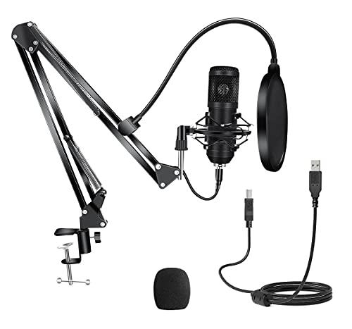 RODI Gaming GTX 522 Plus Microfono Gaming USB Professionale a Condensatore con Braccio Regolabile per PC, PS4 e PS5, per Streaming, Nero