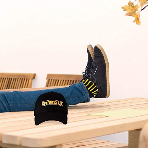 DeWALT Mens Crew Socks | Black Cotton Boot Socks for Men + Men's Ball Cap Set