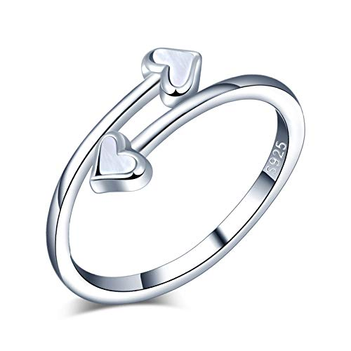 Yumilok Anillo de plata 925, anillo ajustable para mujer y niña, anillo de compromiso abierto, anillo de corazón lindo, anillo de bodas, tamaño ajustable, fritillary con incrustaciones