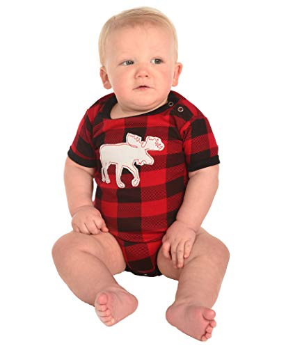 Lazy One Matching Family Pajama Sets for Adults, Teens, and Kids (Moose Plaid, 6 MO)