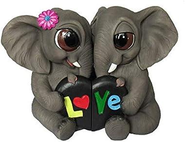 DWK - More to Love - Adorable Romantic Elephant Couple Two-Piece Figurine Valentine's Day Lovers Safari Office Desk Statue Ho