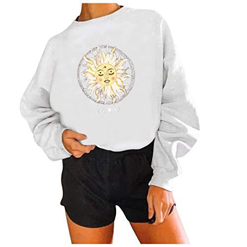 WAo Sudadera de manga larga con estampado solar, informal, holgada, de color sólido, con cuello redondo, para mujer, blanco, M