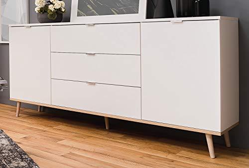 FINORI Sideboard Göteborg - Kommode in matt weiß und Sonoma Eiche Anrichte Massivholz 180 x 87 cm