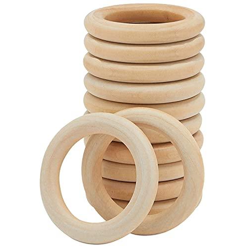 Wednesday(68mm/12PCS)Aros de madera para manualidades/ artesanías , anillas madera bebe mordedor,asas para bolsos de madera/servilletero madera/argollas de madera para cortinas/ aros macrame