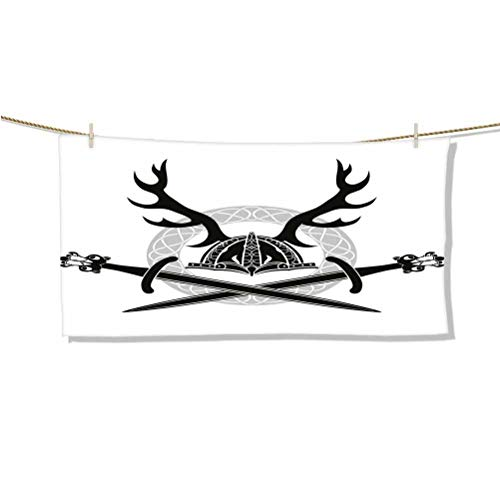 Dasnh Microfiber Beach Towels Oversize Quick Dry Towel Travel Beach Towel Helmet with Antlers and Viking Swords Celtic Circle Medieval Barbarian W64 x L32 Towel Dress for Women