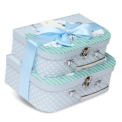 Geschenkboxen für Neugeborene – 2 blaue Etuis mit Satinband und Nachrichtenanhänger für Neugeborene
