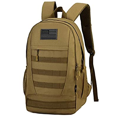 ArcEnCiel Motorcycle Backpack Tactical Military Bag Army Assault Pack Rucksacks for Outdoor Hiking Camping Trekking Hunting with Patch - Rain Cover Included (Coyote Brown)