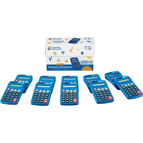 Learning Resources Primary Calculator, Basic Solar Powered Calculators, Teacher Set of 10 Calculators, Ages 3+