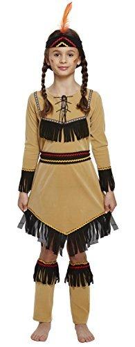 Fancy Me Ragazze Nativi Americani Rosso Squaw Indiano Festa del Libro Costume Vestito 4-12 Anni - Marrone, Marrone, 7-9 Years