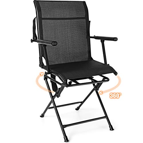 Tangkula 360° Swivel Hunting Chair, Multi-Position Folding Stealth Spin Chair W/Mesh Back, Wide Armrest & No-Sink Footpads, Mesh Swivel Blind Chair Huntsman Chair for Outdoor Activities (Black)