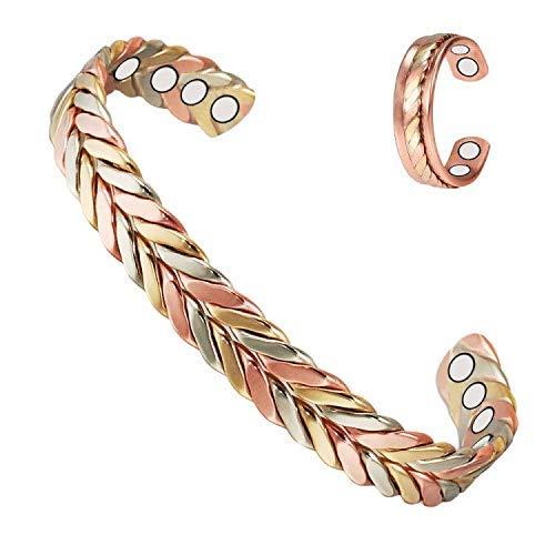Pulseras de cobre magnéticas anillos de cobre para mujeres y hombres para artritis con imanes terapia trenzados conjuntos de joyería