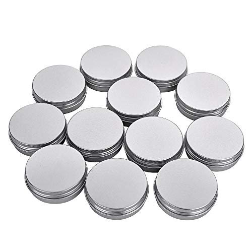 Fizz 2 Oz Aluminum Tins Cans 18 Pack Round Storage Jars Containers Screw Lids Metal Tins Travel Tins Cosmetic Refillable ContainersSilver