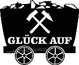 WB wohn trends Auto-Aufkleber, Glück Auf Lore Ruhrpott, schwarz, 50cm breit, KFZ-Sticker
