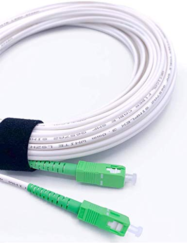 Elfcam® - Cable Fibra Óptica SC/APC a SC/APC monomodo simplex 9/125µm LSZH, Blanco/Verde (25M)