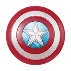 24-Inch diameter shield. Costume is not included. Plastic.This has straps on inside for ease of grip Elastic handles on back of shield. The red white and blue shield features a large star in the center Officially licensed Marvel costume accessory Des...