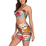 Yoga Workout Sets for Women Animals Celebration Yoga Shorts Bra 2 Pieces Fitness Leggings and Bras Top Tracksuits Black