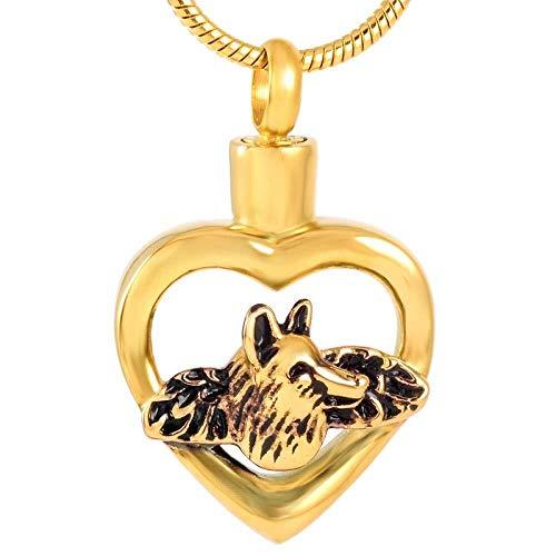 Collar de Moda para Mujer La Cresta del Primo del Collar, la Cadena, el Acero Inoxidable, la Cresta, la conmemoración del Lobo, el Collar de la hifida es un Nombre Negro, Color: Oro Izar