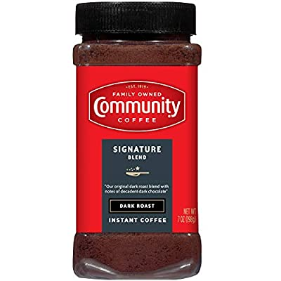 Community Coffee Signature Blend Dark Roast Instant Coffee, 7 Ounce Jar (Pack of 4)