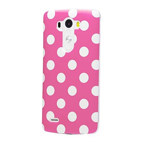 LG G3   iCues lunares TPU rosa   Señoras de las mujeres de las muchachas de gel de silicona adorno del modelo de piel protectora de protección [protector de pantalla, incluyendo] Cubierta Cubierta Funda Carcasa Bolsa Cover Case