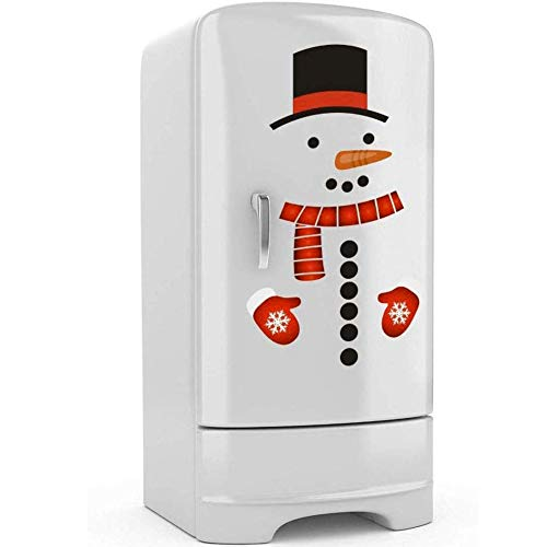 Christmas Snowman Stickers Set of 16, Cute Funny Fridge Stickers Refrigerator Stickers Holiday Christmas Decorations for Fridge, Garage, Office Cabinets, Door, Windows (Big Snowman 1Pack)